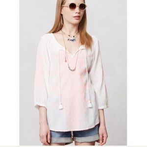 Anthro Maeve Neon-Stitched Peasant Blouse